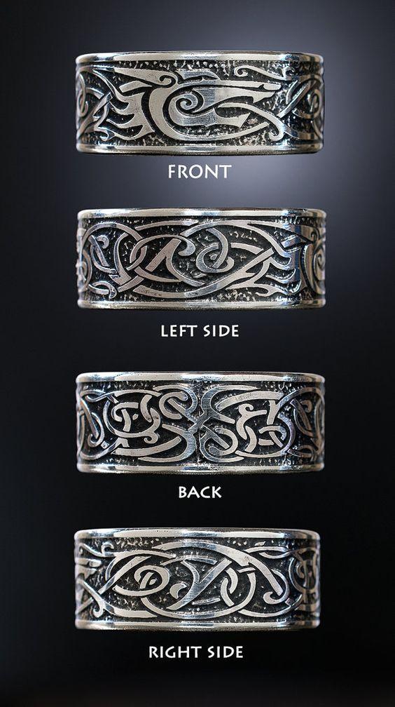 Viking Wolf Ring Sterling Silver Viking Ring Celtic Man