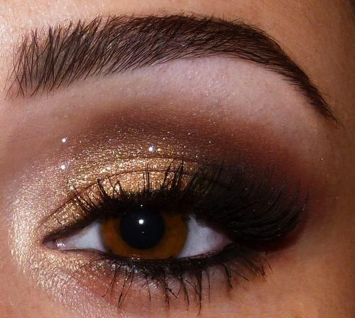 Gold for base color on lid, white highlight in inner corner and under brow bone, dark brown in crease and out corner, black eye shadow on outer corner, line upper and lower lash lines with black eyeliner and smudge out at the edge.