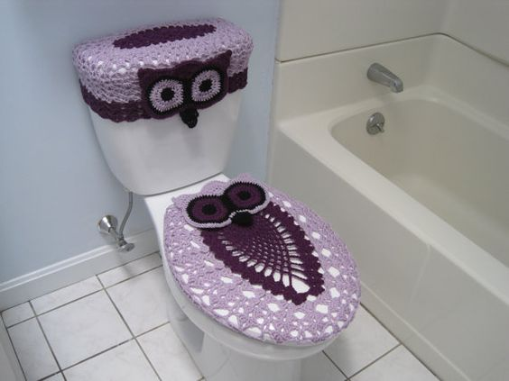 Crochet Set of Owl Toilet Tank Lid and Toilet Seat Covers by ytang. Crochet Set of Owl Toilet Tank Lid and Toilet Seat Covers by ytang