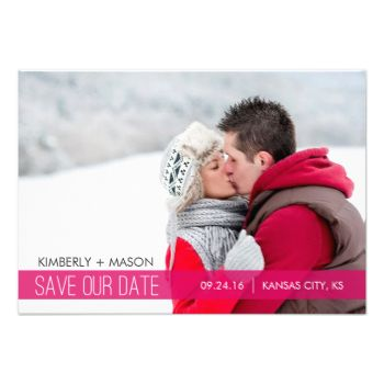 "Simple Stripes Save the Date Mini Invitation / Pink 3.5 x 5 inches Other sizes available when you click on the ""customize it"" button #simple #modern #stripes #striped #save #the #date #small #mini #photo #wedding #pink #black #winter #simple #save #the #date #mini #save #the #date #mini #modern #save #the #date #photo #save #the #date #snow #white"