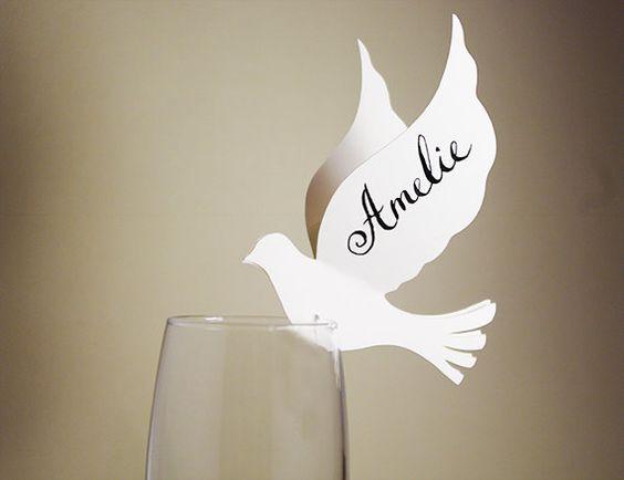30 Place Cards Wine Glass Decor Dove Cutout Scrapbook by MamaTita