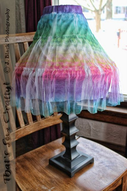 Little girl's skirt to cover an old lamp shade:
