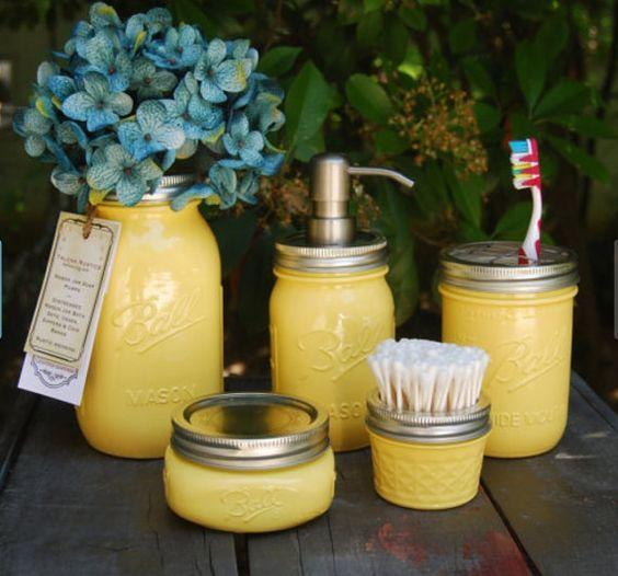 The Original 5 PC Mason Jar Bath Set, Warm Yellow, Bathroom Accessories, Mason Jar Dispenser, Talona Rustics,