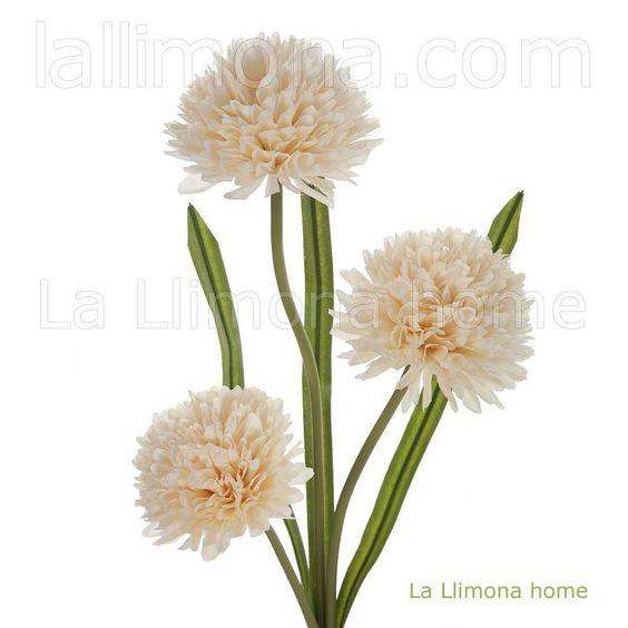 Flores artificiales. Rama artificial allium vainilla 3 flores