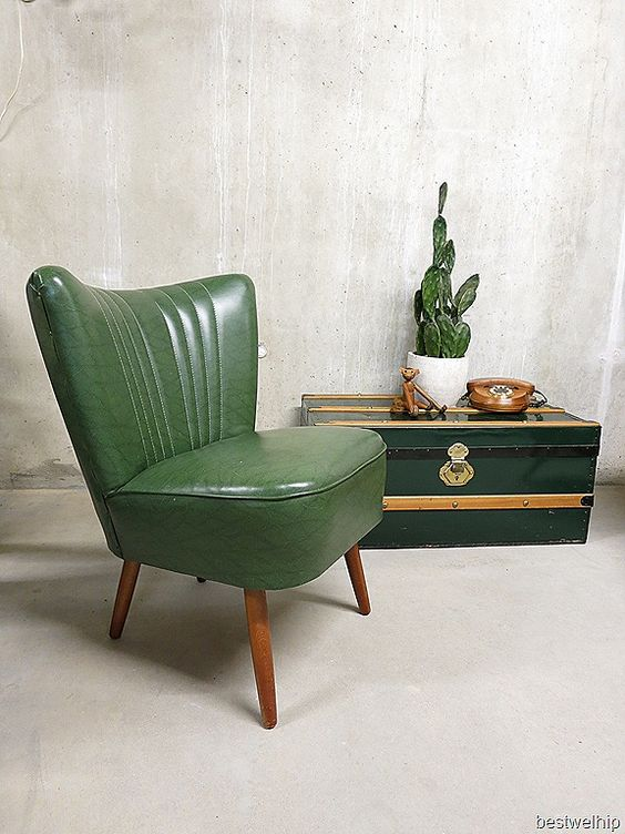 Vintage retro cocktail stoel chair clubfauteuil groen skai for Vintage leren stoel