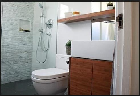 Bamboo and White Look Bathroom Cabinetry with Mirror Shelving