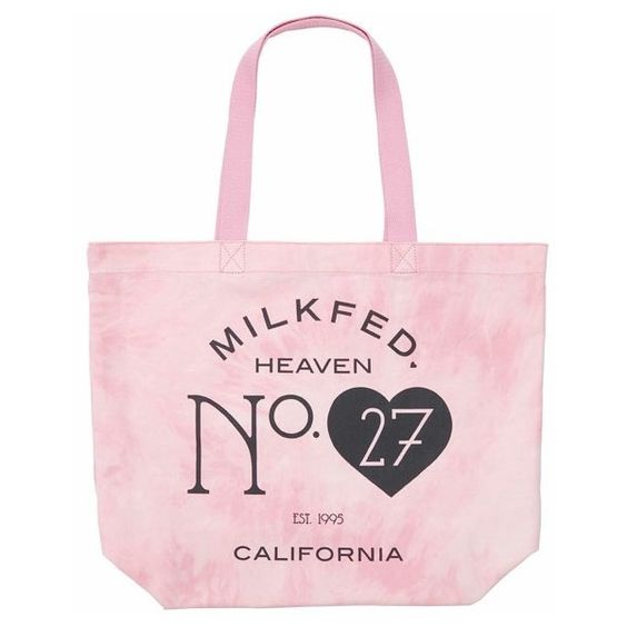 "MILKFED. / ""No.27"" BIG TOTE BAG (56,370 KRW) ❤ liked on Polyvore featuring bags, handbags, tote bags, handbags totes, tote hand bags, tote handbags, pink tote and pink tote purse"