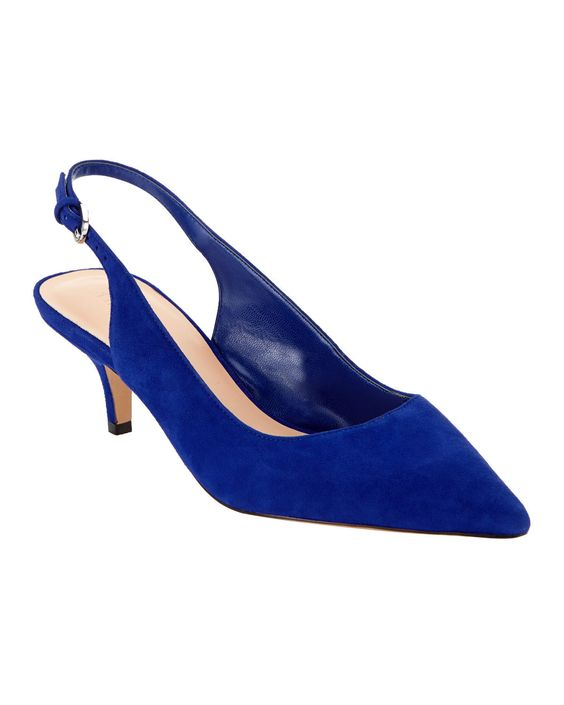 Phase Eight Issy Suede Kitten Heel Shoes Blue