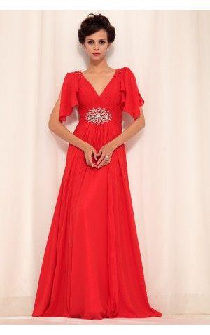 Red A-line Floor-length V-neck Dress Shop Online - 4p151 - sku105130608a23