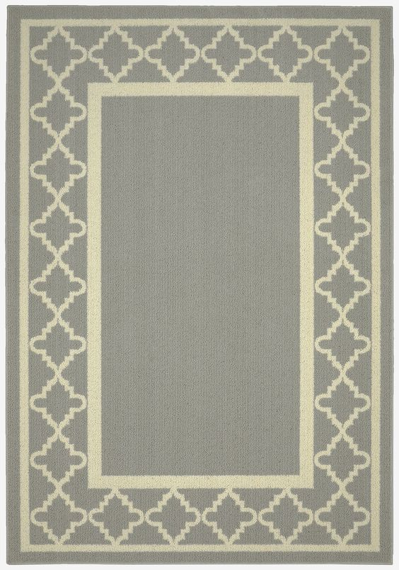 Moroccan Frame Silver/Ivory Area Rug