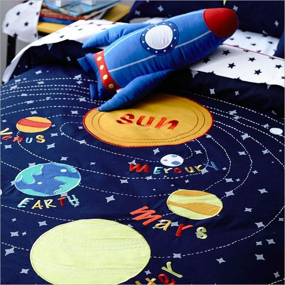 Smila Sol Ceiling Lamp Yellow: Solar System Quilt Cover