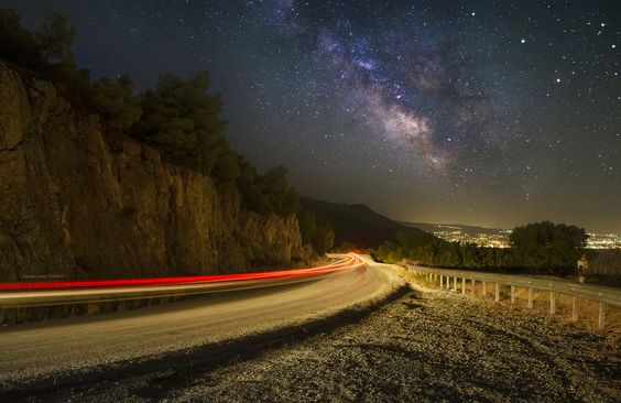 Milky Way, City Lights and Car Trail - Playing with lights, our home
