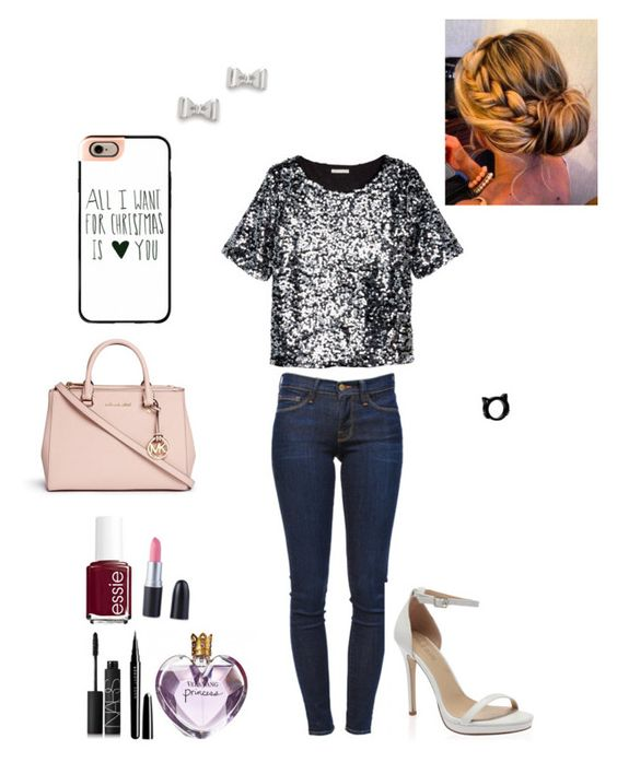 """""""Devons with Mel"""" by kimmy1234529 ❤ liked on Polyvore featuring Frame Denim, H&M, Marc by Marc Jacobs, Michael Kors, Casetify, Essie, Vera Wang, Marc Jacobs and NARS Cosmetics"""