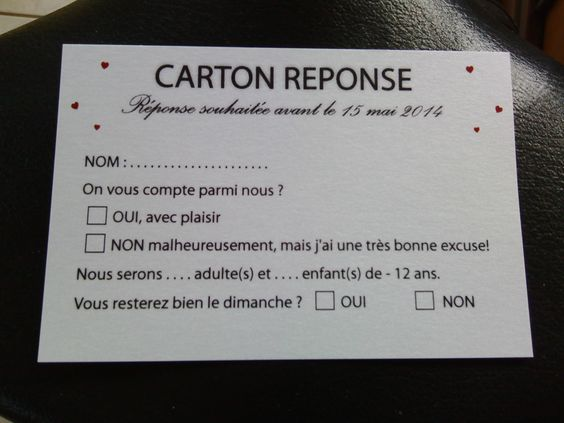 Coupons reponse mariage