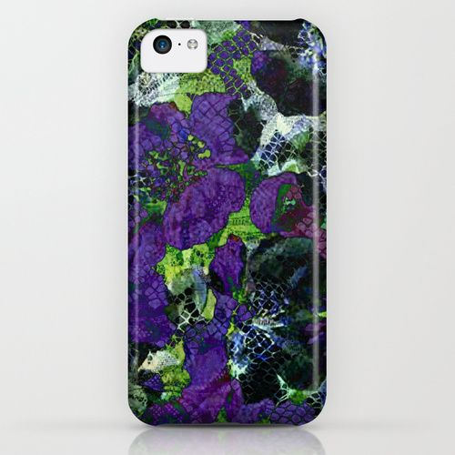 purple flowers and lace iPhone & iPod Case