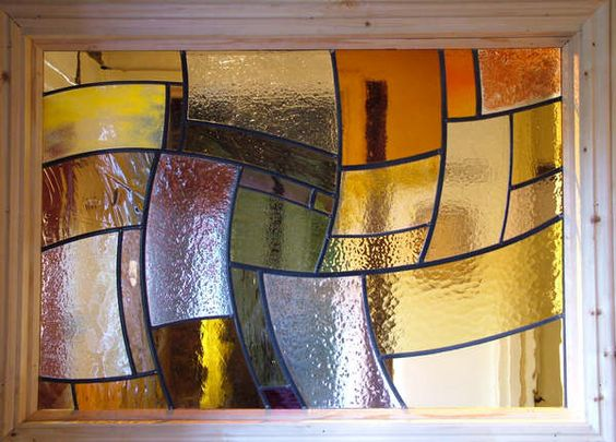 Warm and Wavy Fused Glass and Leaded Window by Abinger Stained Glass