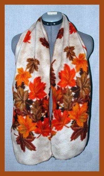 Cascading Autumn Leaves Fleece Scarf Seasonal by Handmadecrafter, $10.00