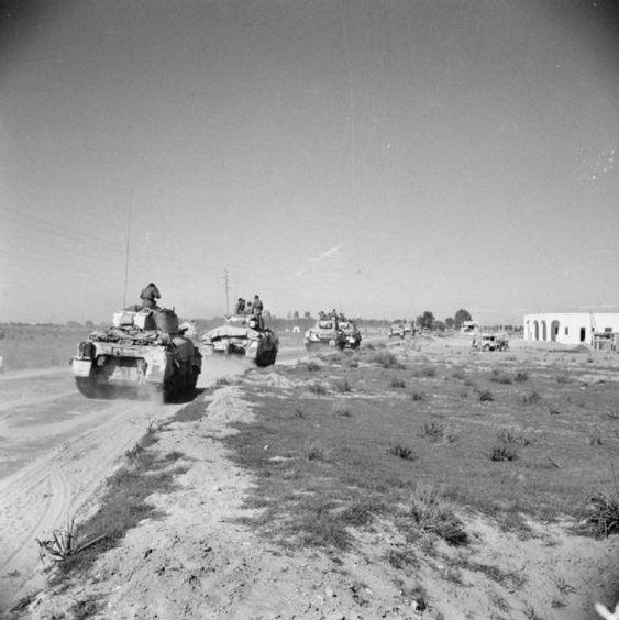 Sherman tanks during the advance along the coast road towards Tripoli, 27 January 1943.