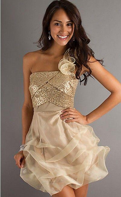 One Shoulder Gold Sequin Short Party Dress