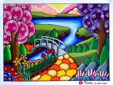 Menggambar Pemandangan Yang Indah Cara Gradasi Warna Ep 222 Youtube Lukisan Kupu Kupu Lukisan Galaksi Easy Drawing Tutorial