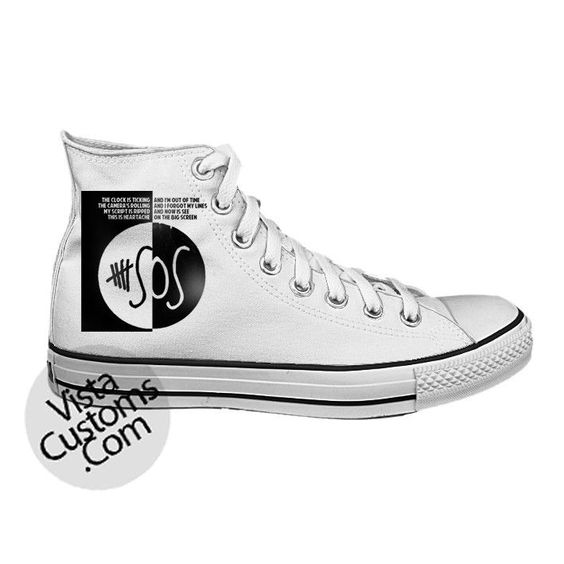 5 seconds of summer Logo White shoes New Hot Shoes