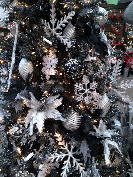 Silver and black tree