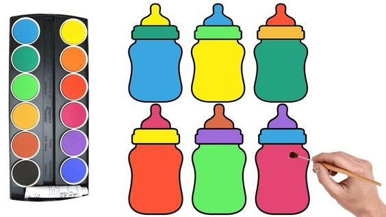 Coloring Page For Baby Bottle Bottle Coloring Page Learn Colors For Learning Colors C In 2021 Kids Printable Coloring Pages Candy Coloring Pages Mermaid Coloring Pages