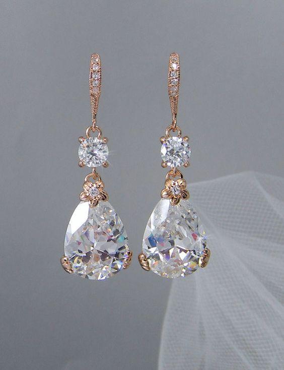 Braut Ohrringe Rotgold Drop Hochzeit Ohrringe von CrystalAvenues
