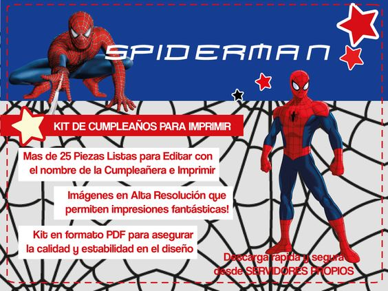 kit de cumpleaos de spiderman para imprimir