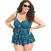 Swim Solutions Plus Size Swimsuit, Tiered Tribal-Print Tankini Top