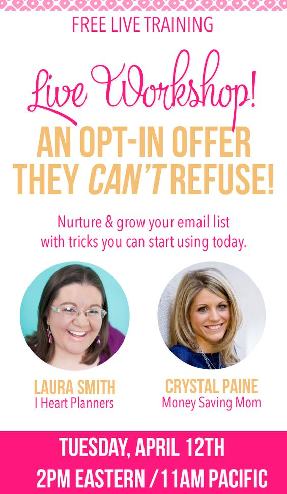 Sign up for a free webinar on how to grow & nurture your e-mail list with opt-in offers!