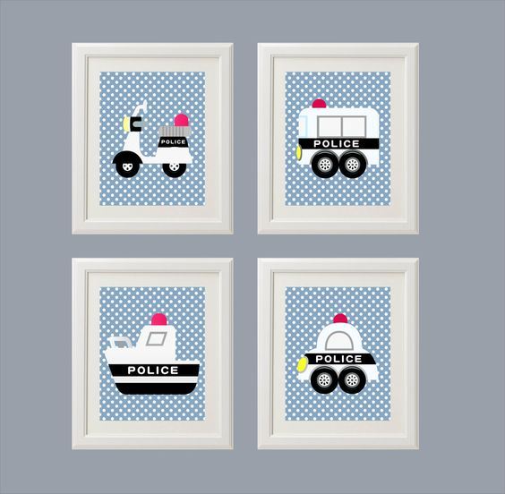 Police cars transportation modern nursery wall art decor childrens room playroom 11x14. $44.00, via Etsy.: