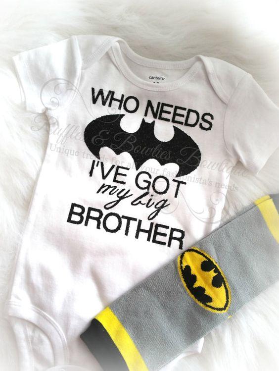 Batman OnesieBaby Boy Big BrotherLittle by RufflesBowtique on Etsy