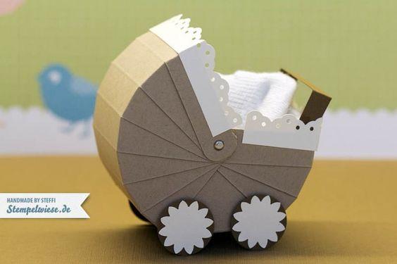 von Stempelwiese: Kinderwagen mit Vorlage - eine niedliche Verpackung für Babygeschenke!!!