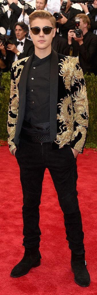 Justin Bieber wearing a Balmain look to the Met Ball.