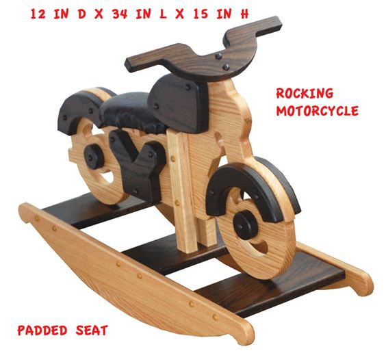Amish Wooden OAK Two Tone Stained Hardwood Padded Seat MOTORCYCLE - Hand Crafted wooden rocking toy. Suitable for ages 2 - 5 years and even younger with adult supervision. Width: 12 in. Length: 34 in. Height: 15 in.Price includes Delivery to the Continental United States.These rocking MOTORCYCLES are made in a non-electric Old Order Amish shop that is part of a good-sized farm homestead. The loving care and attention to detail in the finished product makes it an item to last at least a…