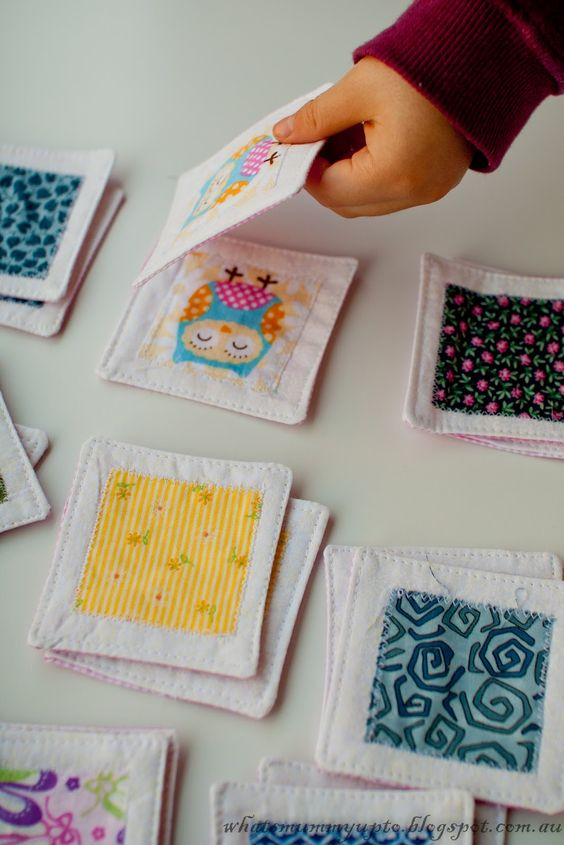 matching game with fabric scraps tutorial from What's Mummy Up To: