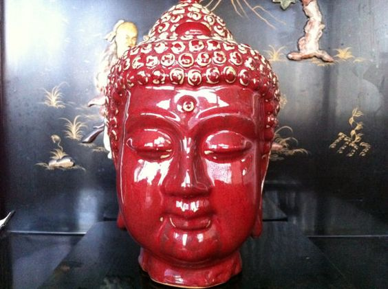 SALE Vietnamese red ceramic bust of buddha by AsianPacificCo, $45.00