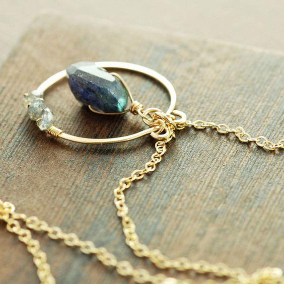 Blue Labradorite Pendant Necklace 14k Gold, Modern Boho Gemstone Jewelry on Etsy, $56.00