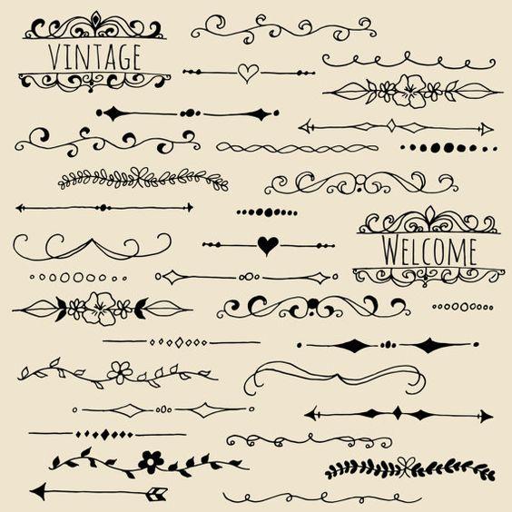 Liebenswert Vintage style Tafel Text Teiler - alle Hand gezeichnet - mit Prämie Tafel Papierhintergrund! Insgesamt 72 Elemente: perfekt für Etsy