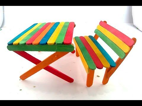 Diy Picnic Table And Bench Made Out Of Popsicle Sticks Craft For Kids Thank You For Watch Popsicle Stick Crafts For Kids Diy Kids Table Craft Stick Crafts