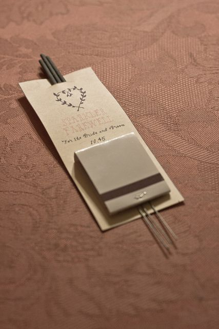 Sparklers with matches attached for end of reception! Two wonderful ideas in one! (Sendoff and Favor!)