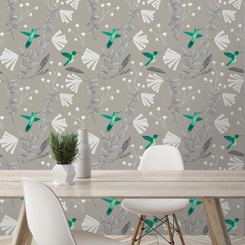 Devine Color Hummingbirds Mirage Beluga Wallpaper Hummingbird Wallpaper Decor Home Decor