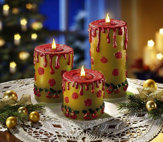 flammenlose-LED-Kerzen-Weihnachtskerzen-Wachskerzen-Weihnachtsdeko-Teelichter