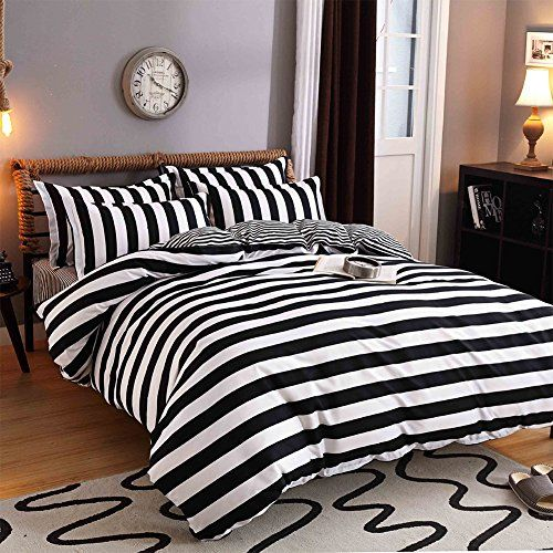 Fashionwu 4 Pcs Black White Stripe Bed Set Quilt Cover Pillowcases Bed Sheet 2 0m Bed Linen Sets Queen Bed Sheets Bedding Sets