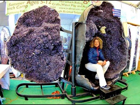 giant amethyst crystal energy chamber at the tucson gem show 2020 youtube in 2021 tucson gem show energy crystals gem show