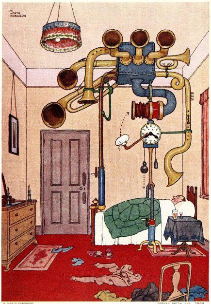 Heath Robinson's ingenious alarm clock.