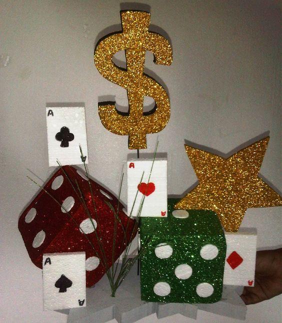 Centro de mesa para fiesta de casino cumplea os adultos - Decoracion de mesas cumpleanos adultos ...