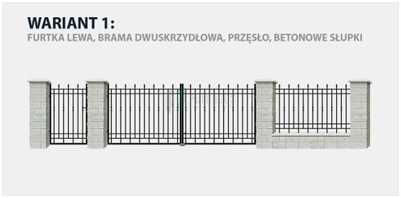 Ogrodzenie klasyczne Haga 2 w wariancie z bramą dwuskrzydłową i betonowymi słupkami.