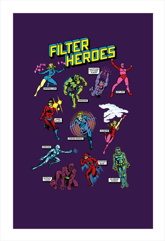 Filter Heroes Print (Photoshop Filters as Super Powers)